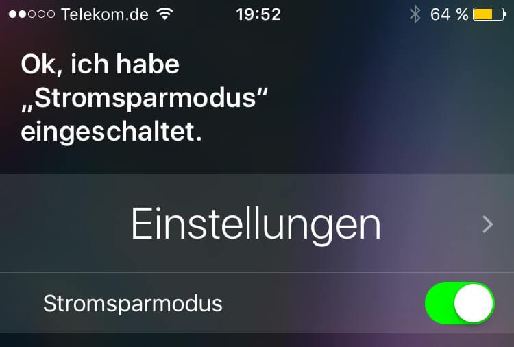 Über Siri kann man den Stromsparmodus ein und aus schalten