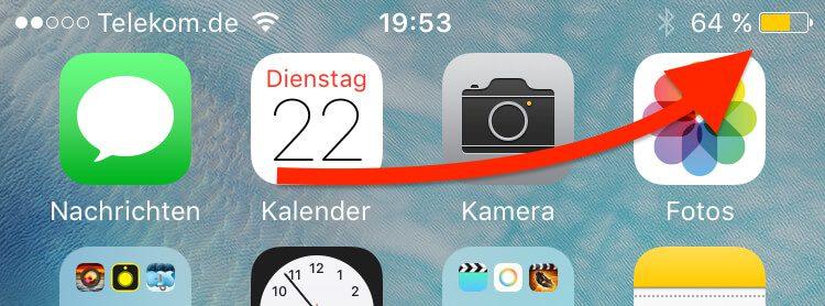 Stromsparmodus iPhone Anzeige Menüleiste