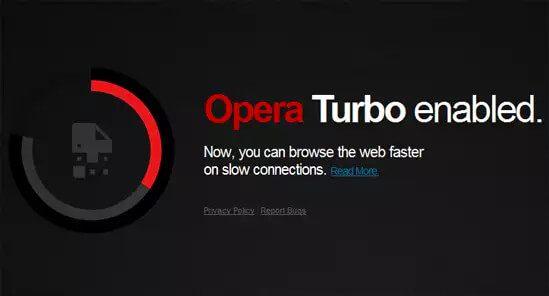 Opera Turbo eingeschaltet