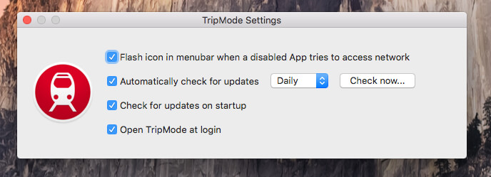 In den TripMode Einstellungen kann man unter anderem wählen, dass TripMode immer mit dem System starten soll.