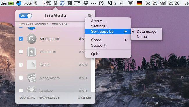 Die Programmliste kann man mit TripMode auch nach Datenverbrauch sortieren lassen. So finden sich schnell die Übeltäter, die am meisten mobile Daten nutzen.