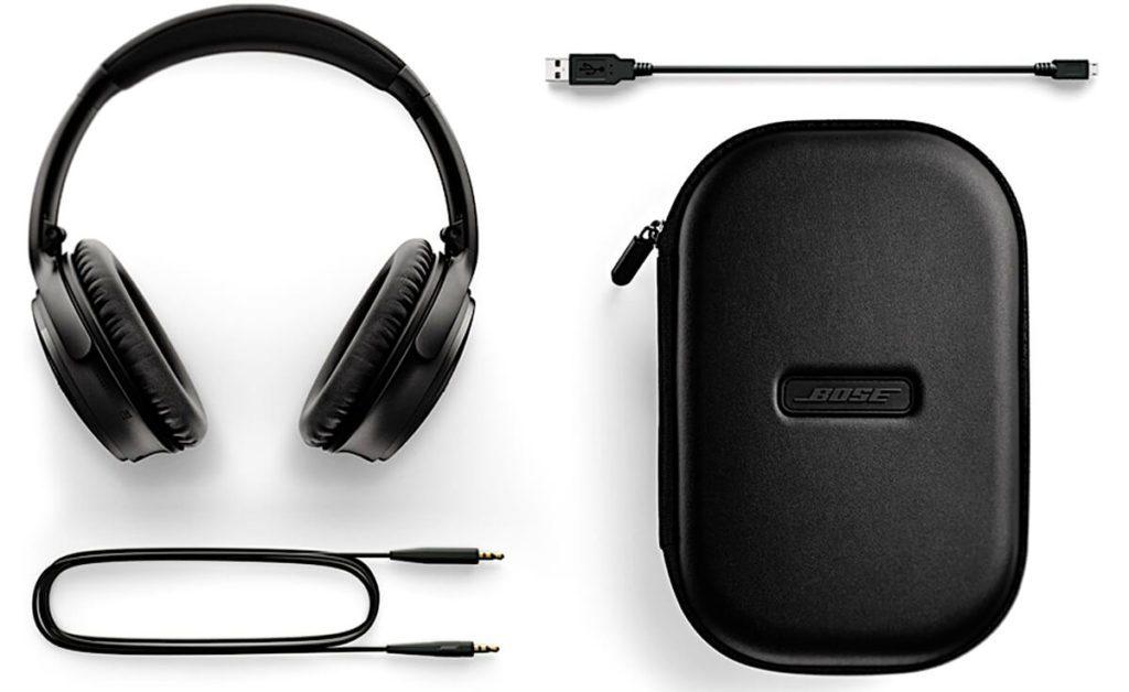 Bose QC35 Lieferumfang: neben dem eigentlichen BT Lautsprecher ist auch eine Transporttasche, sowie ein 3,5mm Klinkenkabel und ein Micro-USB-Ladekabel enthalten.