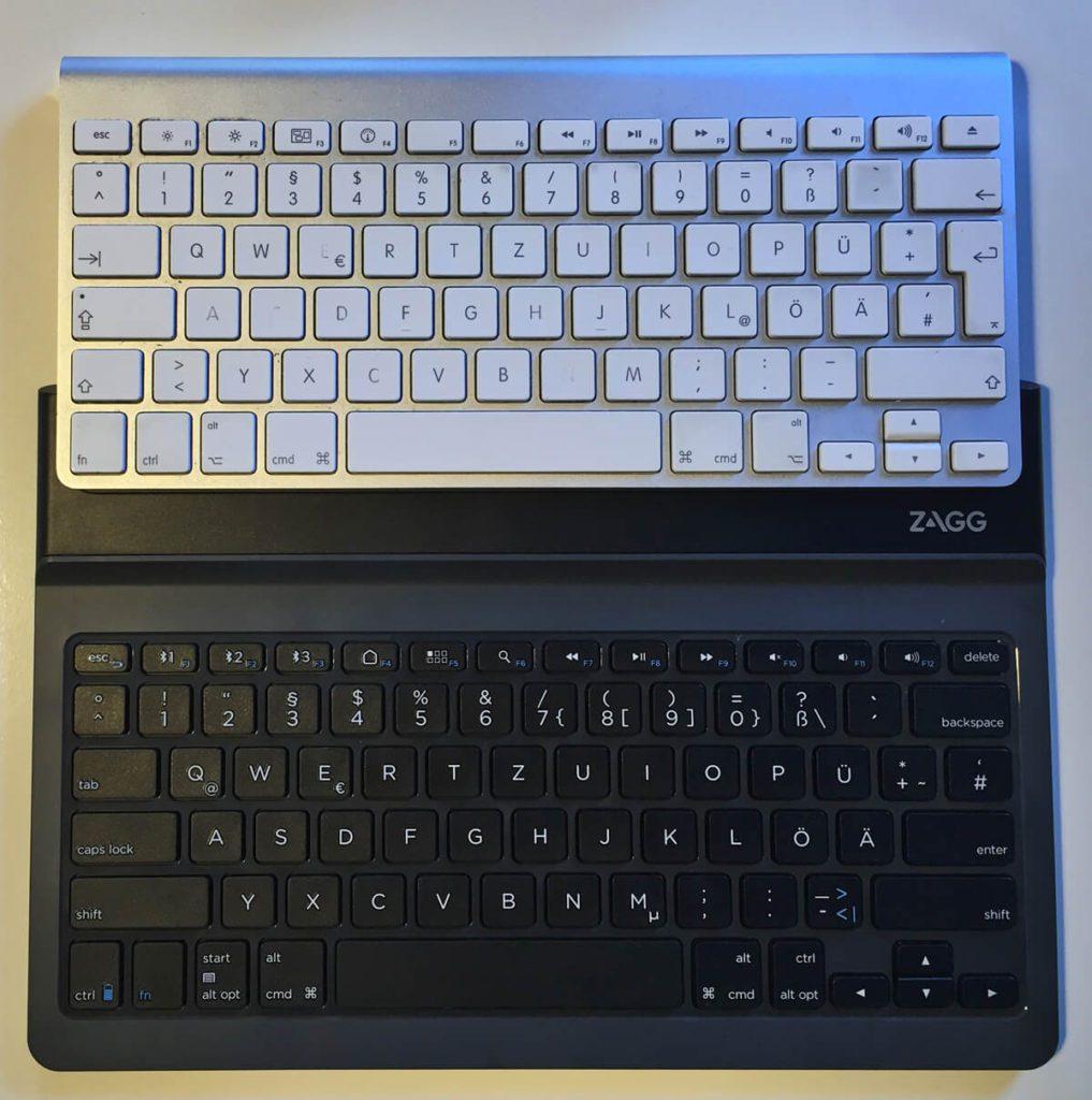 Vergleich ZAGG Limitless Tastatur und original Apple Keyboard