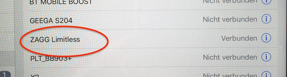 Beim Pairing der ZAGG Tastatur mit iPad/iPhone