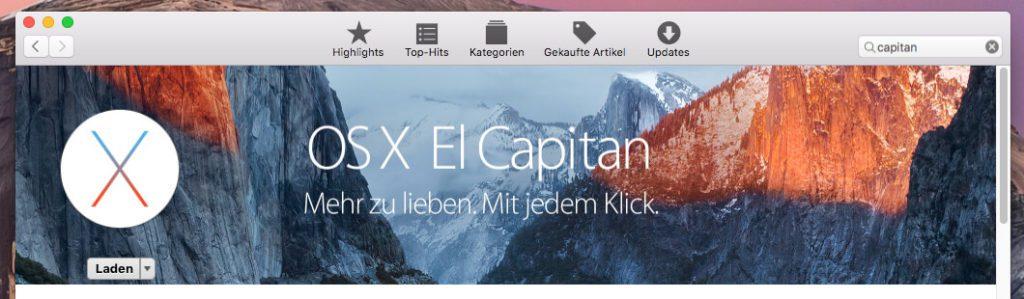 OS X El Capitan könnt ihr gratis im Mac AppStore laden um einen USB Stick bootfähig machen zu können