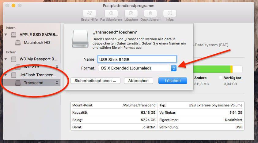 """USB Stick unter OS X bzw. macOS bootfähig machen: Wichtige Voraussetzung ist das Format """"Mac OS Journaled"""""""