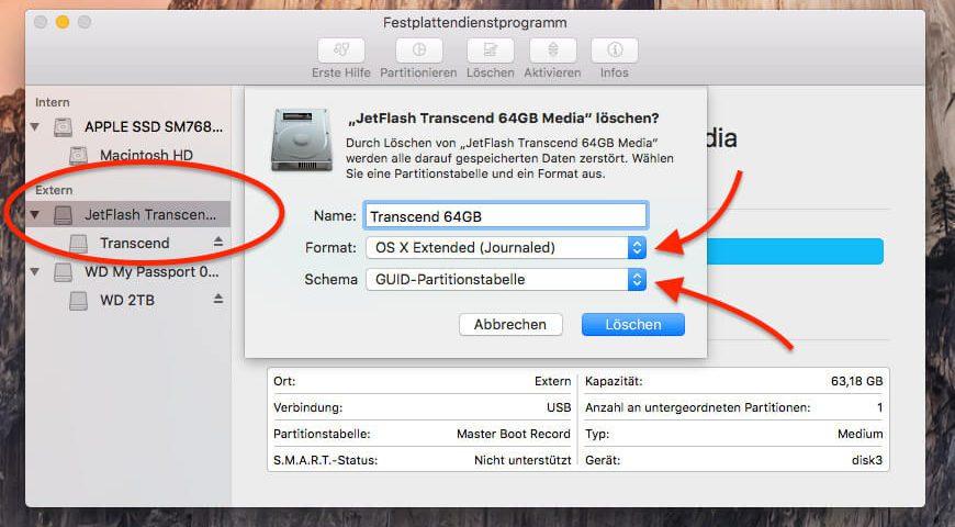 Bootfähigen USB Stick am Mac erstellen: beim Löschen bitte OS X Extended als Format und GUID als Schema wählen