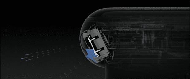 Der Lautsprecher der Apple Watch Series 2 beim Entleeren - Screenshot von der Apple Keynote 2016
