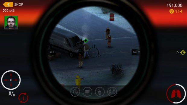 Ingame-Screenshot von Hitman Sniper Death Valley, als ich es gerade am iPhone gespielt hat… nicht aus Spaß, sondern nur für den Screenshot. ;)