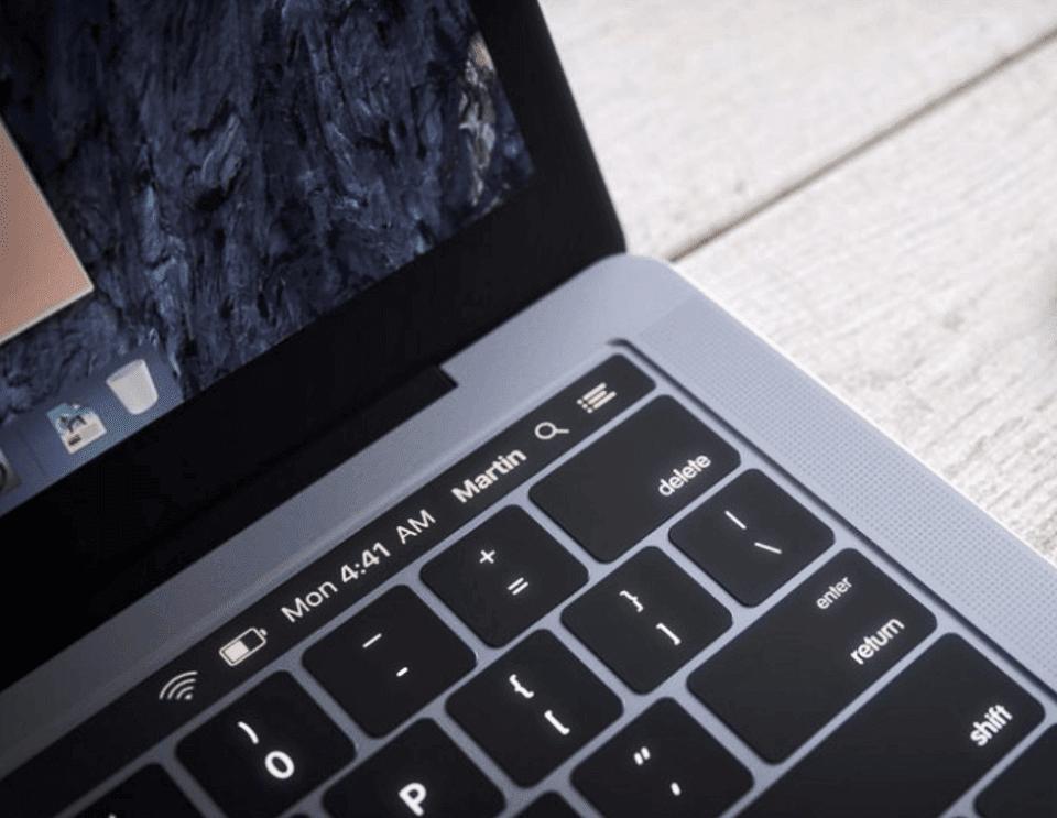 Die berührungsempfindliche OLED-Leiste über der Tastatur ist beim MacBook Pro 2016 (vermutlich) frei programmierbar und kann Informationen wir den Akkustand, die WLAN Stärke und Uhrzeit anzeigen (Quelle: theapplepost.com).