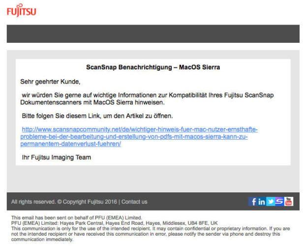 ScanSnap Benachrichtigung zu macOS Sierra