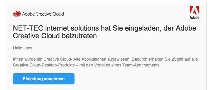 So sieht die eMail mit der Einladung zur Adobe CC aus. Durch die Annahme der Einladung kann man die Lizenz zur Nutzung der Vollversionen übernehmen.