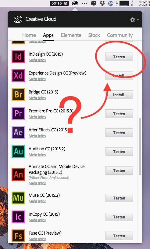 Adobe CC testen? Trotz gekauftem Adobe CC Abo bekommt man die Testversionen der Programme angeboten.