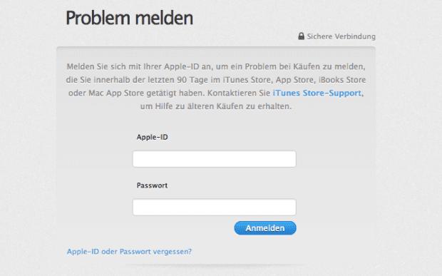 """Schritt 1: Wenn ihr eine App, einen Film oder ein anderes im App Store oder bei iTunes gekauftes Medium """"zurückgeben"""" wollt, dann geht das recht einfach. Der erste Schritt ist die Anmeldung bei Apples Subdomain: reportaproblem.apple.com."""