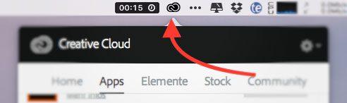 Über den Creative Cloud Client in der Apple Menüleiste kann man die einzelnen Programme der Adobe CC installieren.