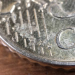 Hier sieht man die Sterne am Rand der 50 Cent Münze.
