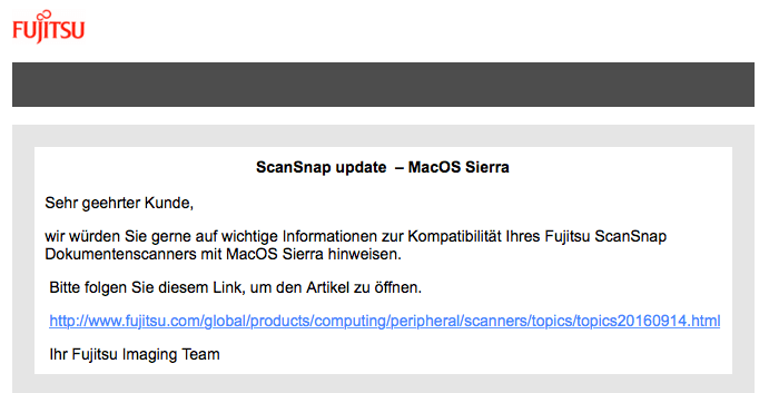 Fujitsu ScanSnap Mail vom 10.10.2016 – Updates für macOS Sierra sind für die wichtigsten Scanner verfügbar