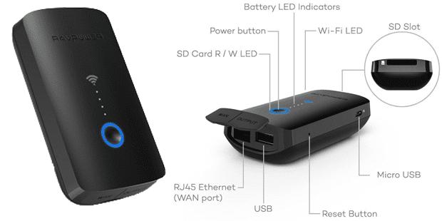 ravpower wifi sd kartenleser wlan router mobil mobiler wlan repeater powerbank 6000 mah personal cloud multifunktionsgerät