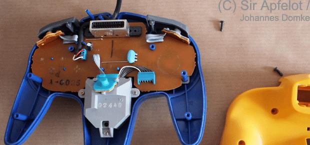 N64 Controller offen mit Platine und Analogstick Modul