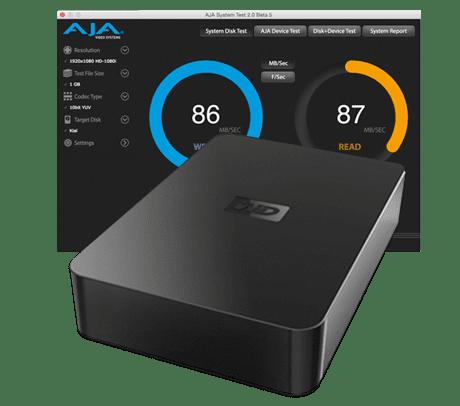 Gemacht zum Festplatten Performance testen: AJA System Test.