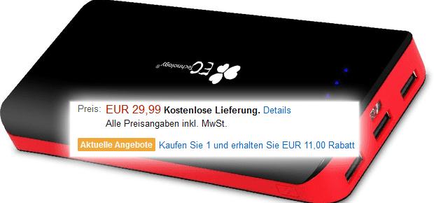 amazon powerbank billiger 22400 mah für iphone ipad unter 20 euro