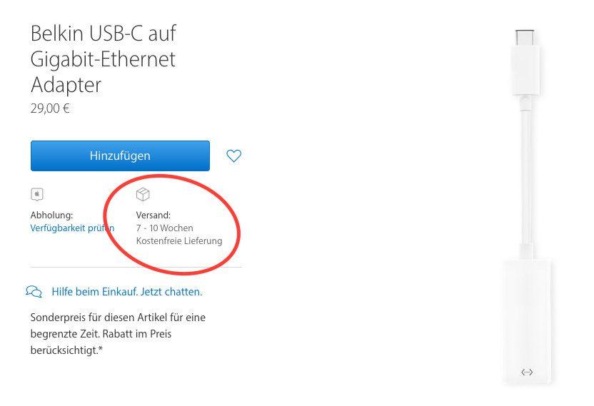Der weisse Belkin USB-C auf Gigabit-Ethernet Adapter hat aktuell im Apple Store eine extrem lange Lieferzeit.