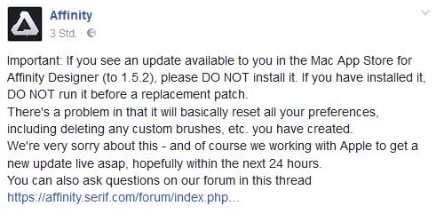 affinity designer update 1.5.2 warnung facebook