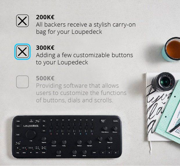 Die Loupedeck Stretch Goals of Indiegogo; Bildquelle: ebenda