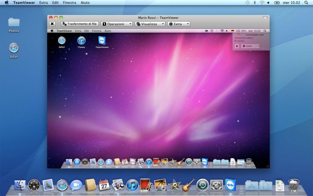 Beispiel einer Fernwartung: Man sieht gut, wie TeamViewer den Inhalt des entfernten Mac-Desktops in einem extra Fenster darstellt. Ein Monitor mit hoher Auflösung hilft natürlich bei der Übersicht. :)