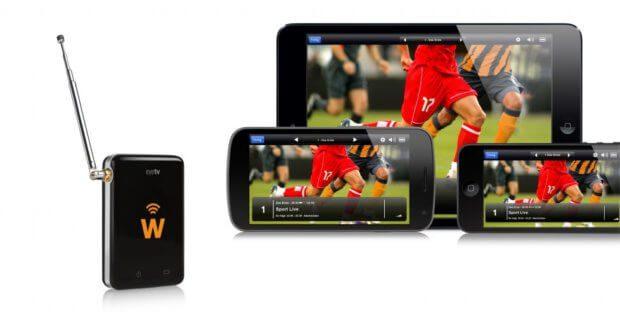Der DVB T Empfänger eyeTV W von Geniatech empfängt kabellos Fernsehprogramme und schickt sie per WLAN auf iPad, iPhone, Android Geräte, usw. Akkulaufzeit bis zu 4 Stunden. Bild: geniatech.eu
