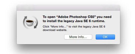 Fehlermeldung beim Starten von Adobe CS 5: Dem Mac fehlt die legacy Java SE 6 Runtime, um die Creative Suite starten zu können.
