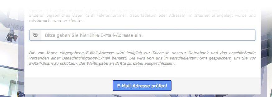 Mit dem HPI Identity Leak Cecker kann man feststellen, ob die eigenen Identitätsdaten – basierend auf der E-Mail-Adresse – ausspioniert wurden.