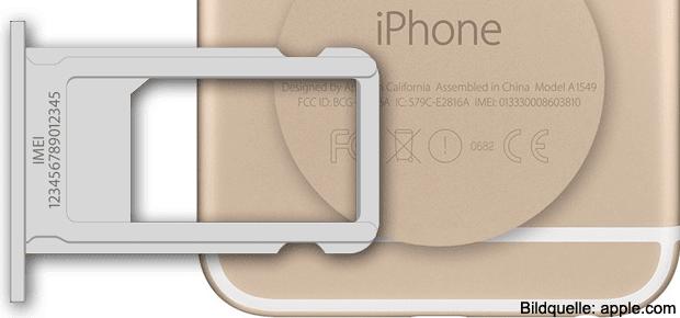 Nicht nur das Apple iPhone hat die IMEI eingraviert, sondern auch das iPad und der iPod.