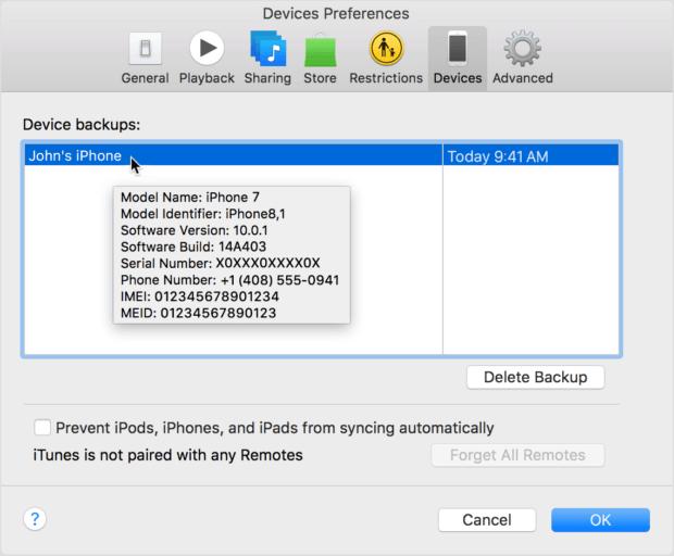 Apple IMEI per iTunes auslesen. Beispielbild von Apple (Quelle: Apple.com)