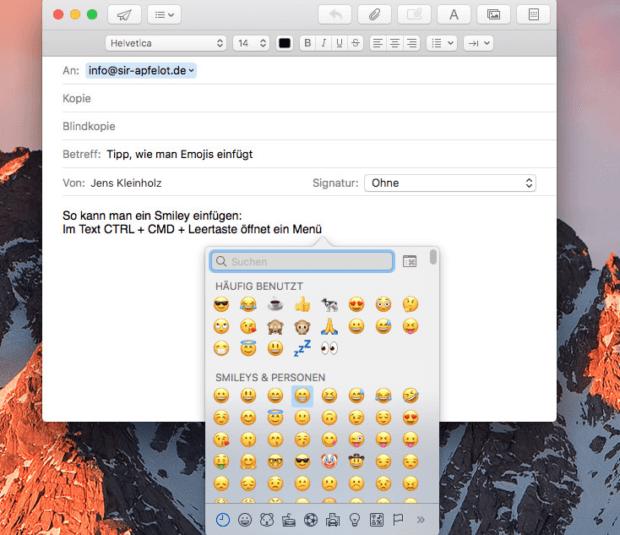Smileys einfügen in macOS E-Mail schreiben
