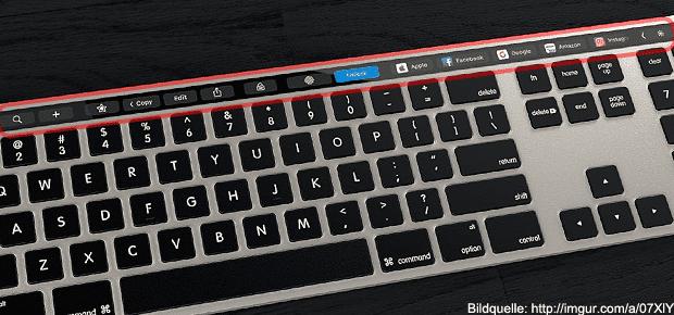 Konzeptbild eines Apple Magic Keyboard mit Touch Bar für den iMac bzw. Mac Pro. Ob die Tastatur mit Touch Bar Realität wird, steht noch aus. Bildquelle: imgur.com
