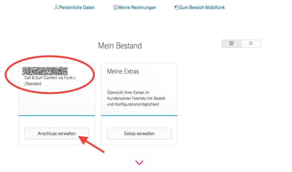 """Unter """"Mein Bestand"""" im Telekom Kundencenter ist der Vertrag mit der Festnetznummer und der LTE Option via Funk."""