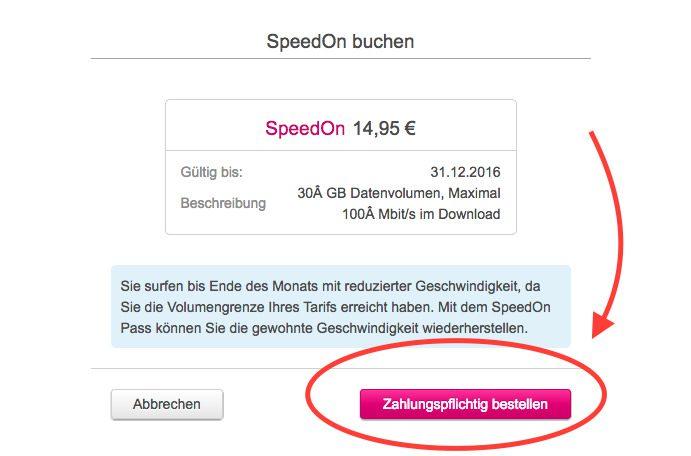 Bevor man das SpeedOn tatsächlich zugeteilt bekommt, muss man noch zahlungspflichtig bestellen.