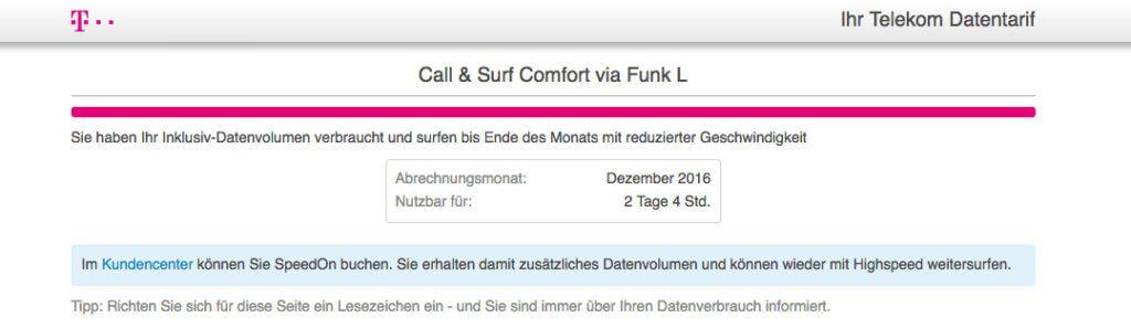 Aktuellen LTE Verbrauch abfragen – funktioniert auf pass.telekom.de. Hier sieht man, dass meine 30GB leider wieder weg sind. :(