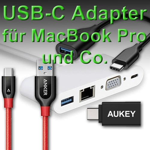 USB-C Adapter günstig bei Amazon online kaufen für das MacBook Pro 2016 oder Smartphone und Tablet. Produktbilder: Amazon