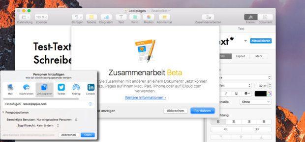 Apple Pages in Aktion. Mit iWork könnt ihr über die iCloud neben Pages auch Numbers und Keynote nutzen, um aufwändige Dokumente schnell und in Gruppenarbeit zu erschaffen (s. Demo im Video).