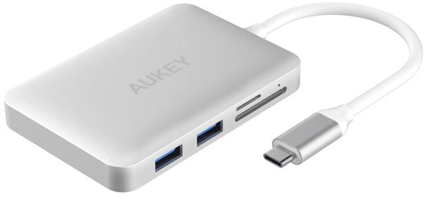 AUKEY Lightning Hub für das MacBook Pro 2016 mit Anschlüssen für USB 3.0, USB 2.0, USB Typ C, SD Karten, microSD Karten und HDMI. Bild: Amazon