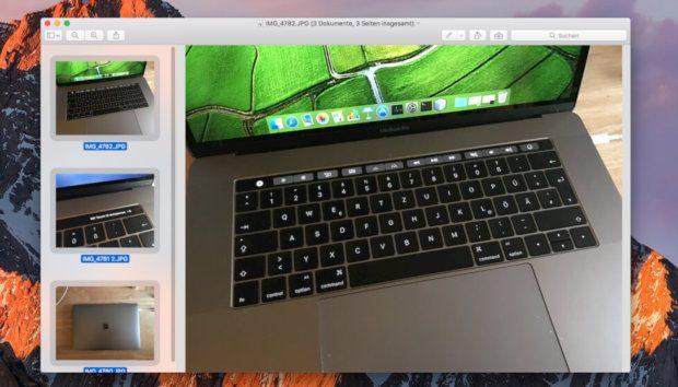 Die Bilder in der Vorschau müssen alle markiert werden: Der Tastaturshortcut CMD + A erfüllt diesen Job.