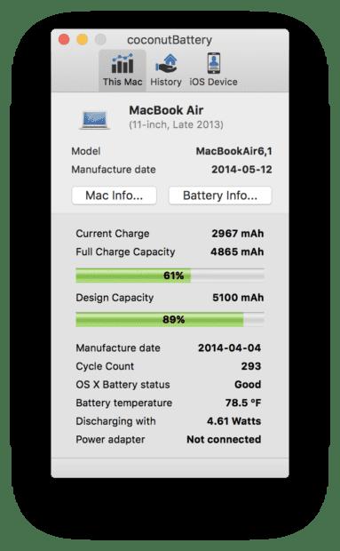 Die macOS App Coconut Battery zeigt etliche Werte an, aus denen man die Restlaufzeit des MacBooks auslesen kann. (Bild: coconut-flavour.com)