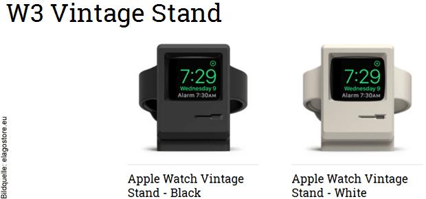 Apple Watch Ladestation W3 Stand von ELAGO. In diesem Artikel gibt's Details zum Apple Watch Stand und Alternativen, auch für weitere Apple Gadgets.