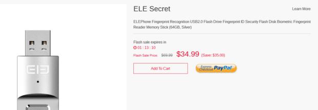 ELE Secret USB Stick mit Fingerabdruck-Sensor und 64 GB Speicher jetzt mit 50 % Rabatt! Bild: elephone.hk
