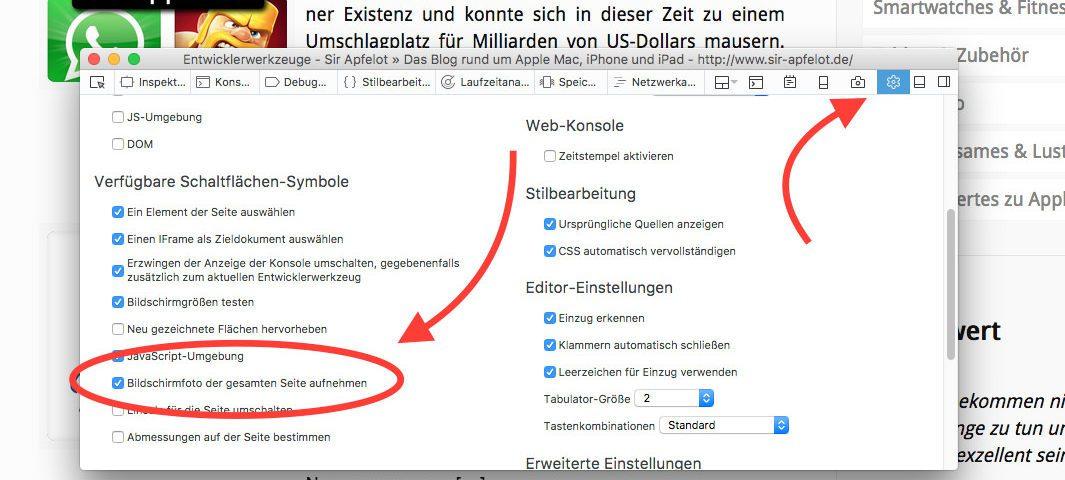 Den Button für die Screenshot-Funktion muss man erst einmal in den Entwicklerwerkzeugen bzw. Developertools aktivieren. Dazu drückt man die fn-Taste und die F12-Taste und wählt dann oben rechts im neuen Fenster das Zahnrad-Symbol. Dort aktiviert man das Häckchen bei dem Screenshot-Button.
