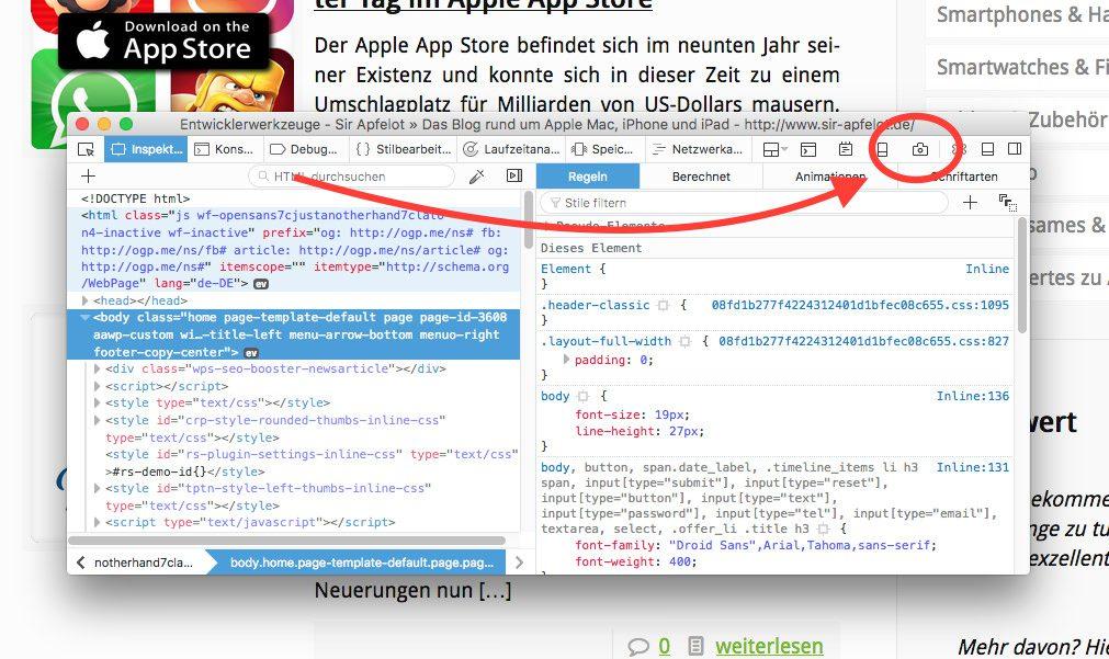 Um im Firefox dann einen Screenshot zu machen, öffnet man wieder die Developertools und klickt dann auf das kleine Kamera-Symbol oben rechts.