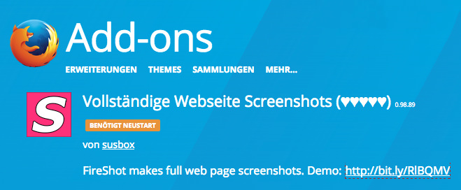 Das Firefox Addon Fireshot verspricht komplette Webseiten-Screenshots zu machen – bei mir am Mac läuft es seit etlichen Wochen nicht mehr.