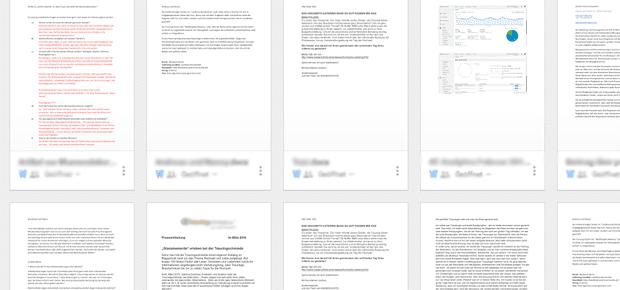 Google Docs ist praktisch, wenn man auch Dokumente über Google Drive teilt. Neben der Textverarbeitung ist eine Tabellenkalkulation und ein Bereich für Präsentationen kostenlos nutzbar. Die einzelnen Doc erscheinen im Vorschau-Modus, was sehr praktisch ist.